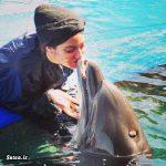 """بازی """"مهناز افشار"""" با دلفین در استخر + عکس"""
