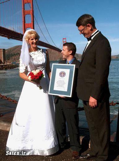 قد بلند عکس عروس عروس قد بلند زن و شوهر زن و شهر عجیب رکورد دنیا بلندترین زن و شوهر Wayne and Laurie Hallquist