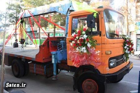 ماشین عروس ایرانی عکس عروس عروسی عجیب عروس خانم راننده جرثقیل بهترین ماشین عروس