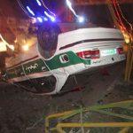 "خودروی ""ناجا"" حین تعقیب و گریز واژگون شد + عکس"