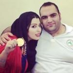 مدال طلای بهداد سلیمی بر گردن همسرش + عکس