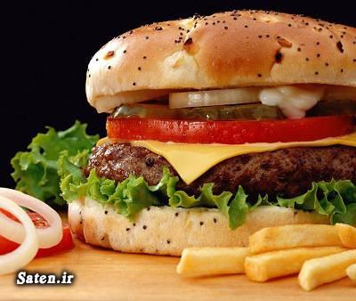 مضرات همبرگر مضرات فست فود مضرات ساندویچ محتویات همبرگر محتویات کالباس