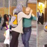 رقص تانگوی یک زن و مرد جوان در جلوی یکی از مساجد اصفهان + عکس