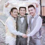 ۳ پسر جوان همجنس باز در تایلند با هم ازدواج کردند! + عکس