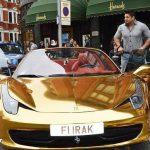 یک عراقی و فراری ۴۵۸ اسپایدر با روکش طلا Ferrari 458 Spider + عکس
