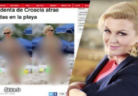 لباس شنا زن کولیندا کیتاروویچ زن در ساحل رئیس جمهور کرواسی