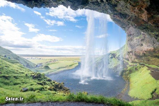 عکس آبشار زیباترین آبشار زندگی در ایسلند توریستی ایسلند آبشار سلیالاندفوس Seljalandsfoss