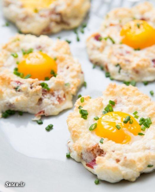 طرز تهیه نیمرو طرز تهیه تخم مرغ ابری خلاقیت آشپزی بهترین سایت آشپزی انواع نیمرو برای صبحانه آشپزی ساده سریع و آسان Eggs in Clouds