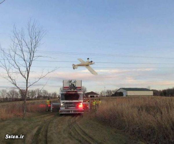گیر کردن هواپیما بین خطوط برق (عکس)