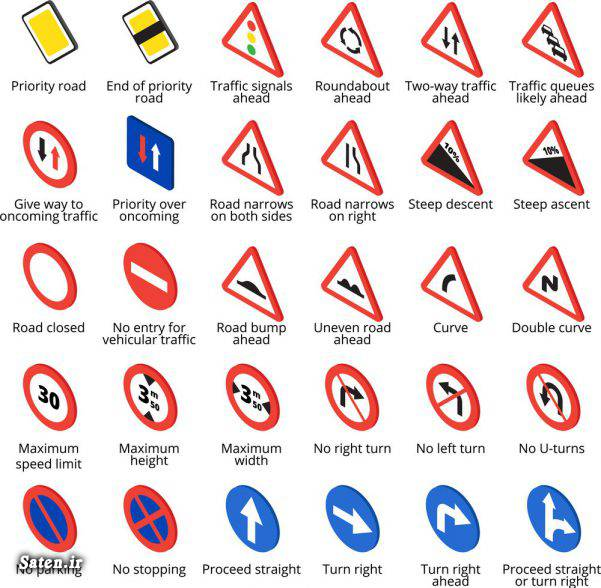 علائم راهنمایی رانندگی به انگلیسی دانستنی های جالب تابلوی راهنمایی رانندگی به انگلیسی آموزشگاه رانندگی آموزش سریع زبان انگلیسی آموزش زبان انگلیسی آموزش رانندگی